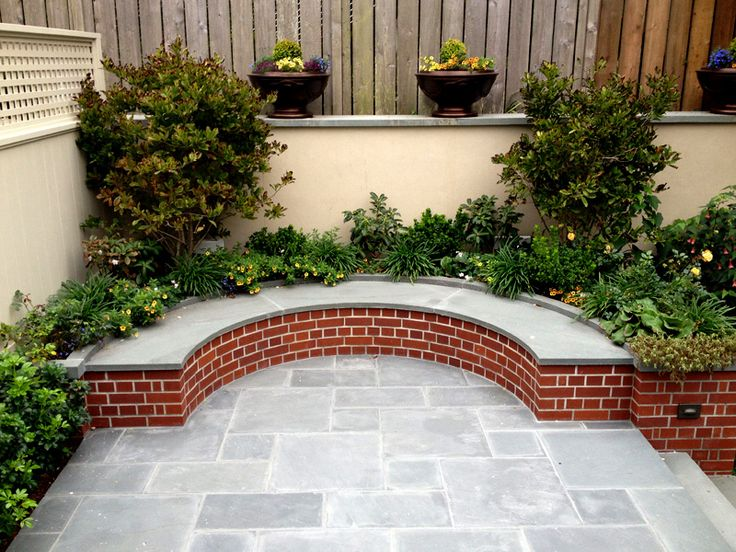 Curved Bench Finished Backyard Feature: Blue Stone Patio U0026 Curved Bench