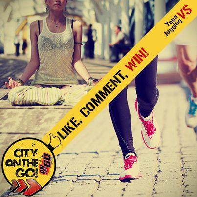 ΝΕΟΣ Διαγωνισμός City On The Go!  YOGA VS JOGGING! Ποιό από τα 2 city activities σε γεμίζει full ενέργεια? Μπες στη σελίδα μας στο facebook και κάνε LIKE & COMMENT για να μπεις στην κλήρωση & να κερδίσεις συσκευασίες Frulite On The Go!