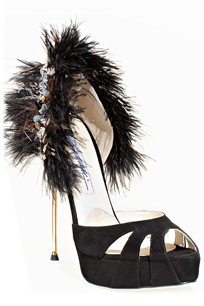 Brian Atwood Bejeweled Feather Metal Stiletto Heel Sandal