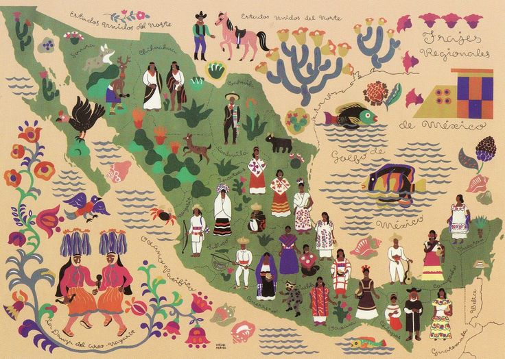 mexicanophile: elranchonotsogrande: Map of Mexico. Postcard.Mexican traditional dresses based on geographical location!