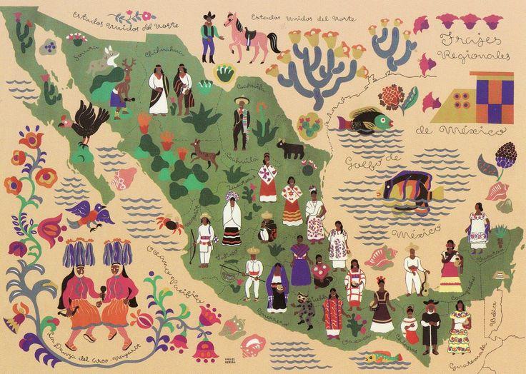 Mapa de México con trajes tradicionales