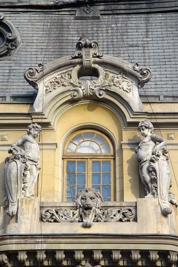Detail of one of the stately buildings in Bucharest, Bucharest, Romania