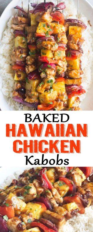 baked hawaiian chicken kabobs, hawaiian chicken kabobs, Hawaiian chicken, Hawaiian chicken marinade, chicken marinade, baked chicken kabobs, chicken kabobs recipe, baked chicken, hawaiian chicken marinade