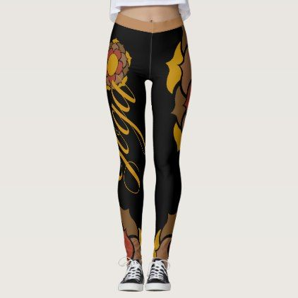 Yoga trousers Lotus orange black with signature Leggings - #customizable create your own personalize diy