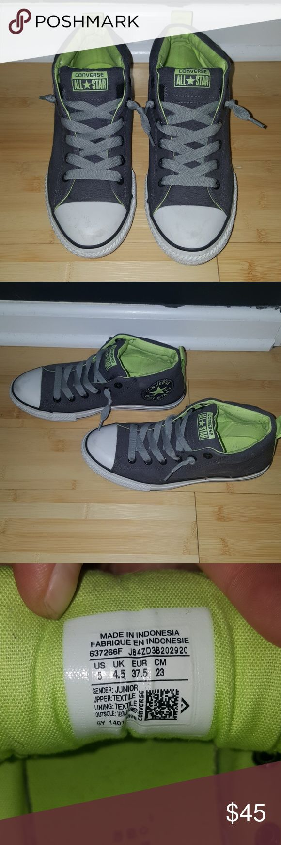 Converse all stars high topa Grey and lime green converse high tops, junior size 5, fits women's size 7.5, great condition only worn a few times Converse Shoes Sneakers