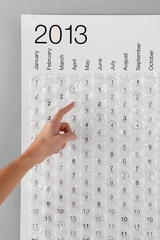 bubble wrap calendar -- I don't think I would have the self