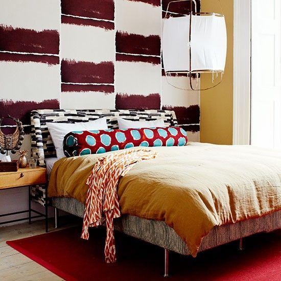 Bedroom   Patterned Wallpaper   Spots   Red   Colourful   Modern   Livingetc
