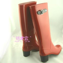 Online Shop Gift Woman Fashion Designer Rain Boots Rainboots High Tall Side Buckle Red High Heel Rainboots|Aliexpress Mobile