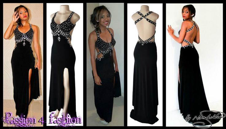 Black & silver matric farewell dress with a low open back, a slit and train. Slightly open on the side of the tummy. Back straps and bodice detailed with silver beads and diamante