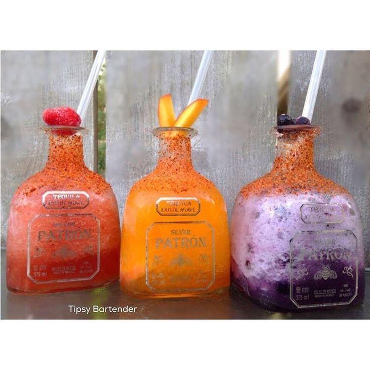 """""""▃▃▃▃▃▃▃▃▃▃▃▃▃▃▃▃▃▃▃▃ THE 3 PATRON AMIGOS  Strawberry Raspberry / Margarita 4 oz. (120 ml) Patron silver tequila  2 oz. (60 ml) patron Citronge  1/2 oz.…"""""""