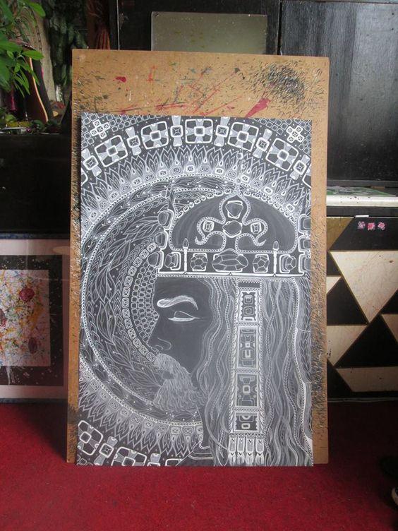 KAREL IV, Král Český Perokresba, formát A1, černý karton, bílá tuš KOH-I-NOOR, bílý pastel FABER-CASTELL, barva stříbrná+zlatá Autor: Johana Hájková 6/7/2016: