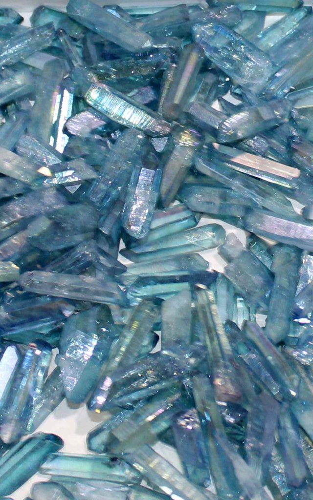Small Aqua Aura Quartz Crystal Points
