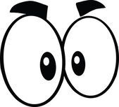 Ojos de blanco y negro de dibujos animados lindo — Foto de Stock