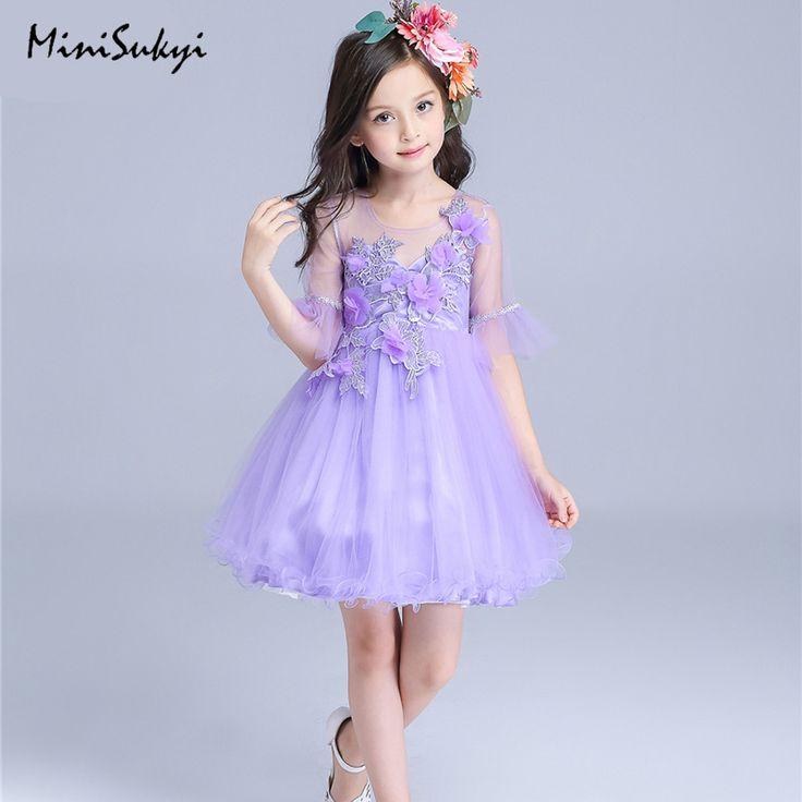 Baby Girl Dress 2017 Summer Brand Princess Dress Children Flare Sleeve Appliques Flower Purple Dresses for Girls 3-10Years #Affiliate