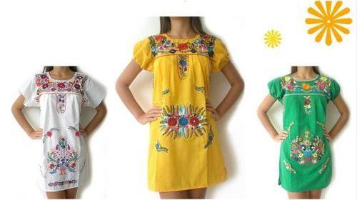 vestido bordado mexicano corto