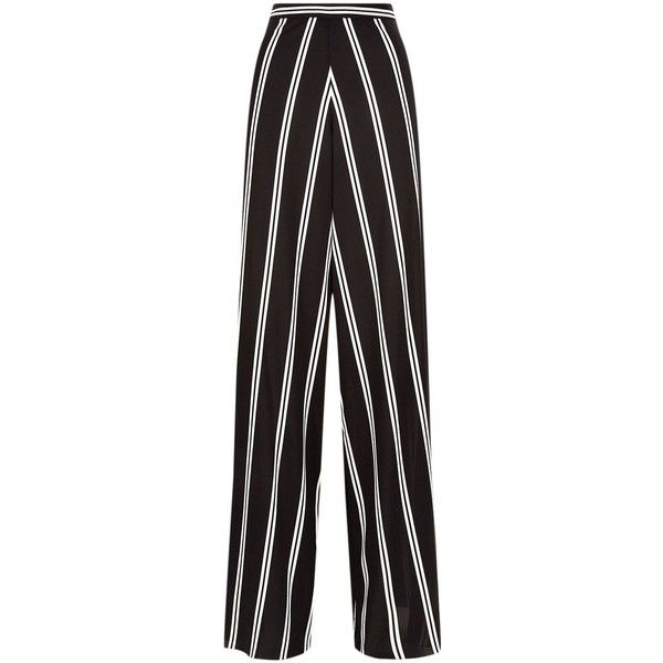 Alice + Olivia Athena Wide Leg Trousers ($485) ❤ liked on Polyvore featuring pants, wide leg print pants, high-waisted wide leg pants, high-waisted trousers, high-waisted pants and tuxedo stripe pants