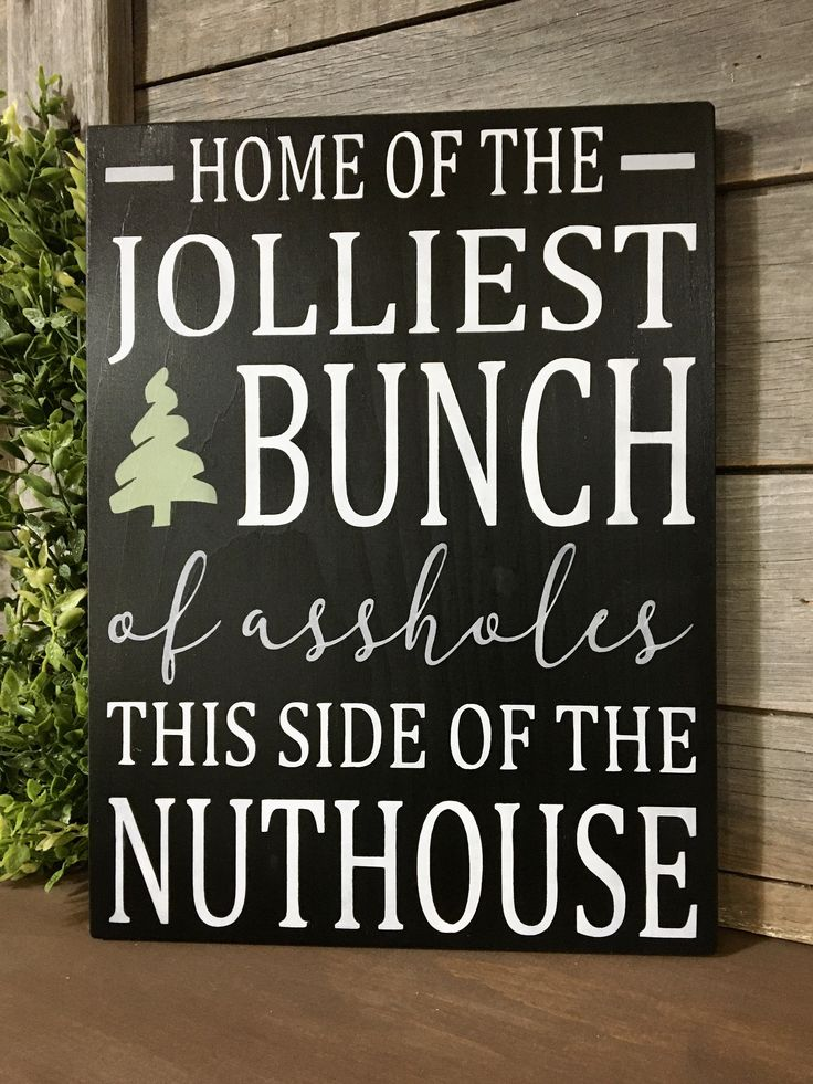 Jolliest Bunch Sign for Christmas Funny Wall Decor for