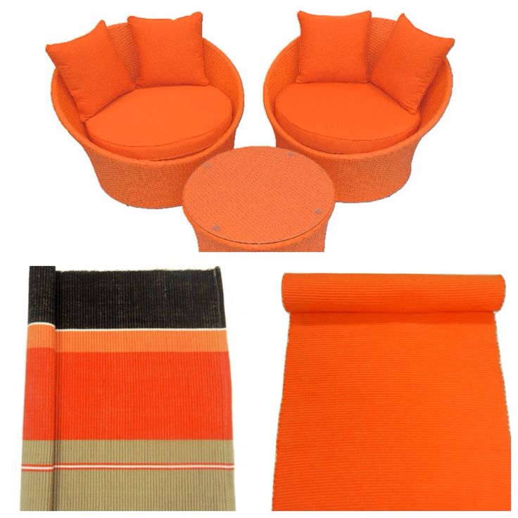 Table runner, placemats and orange  wicker Grace Chairs.