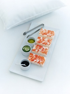prawn sushi with pickled cucumber