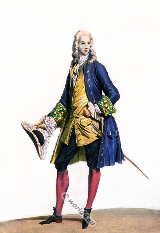 French Nobleman Rococo costume. France 18th century clothing. Louis XV Ancien Régime fashion. Court Dress in Versailles