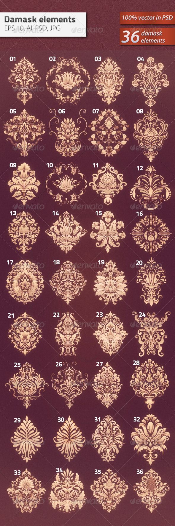 36 Damask Ornamental Elements - Decorative Symbols Decorative