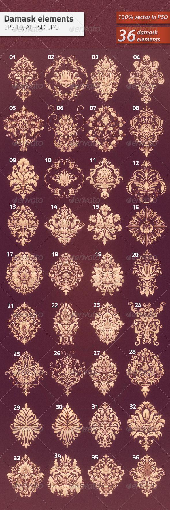 36 Damask Ornamental Elements #GraphicRiver Vector set of damask ornamental elements.