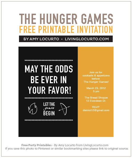 The Hunger Games Free #Party Printables by Amy Locurto at LivingLocurto.com #movie
