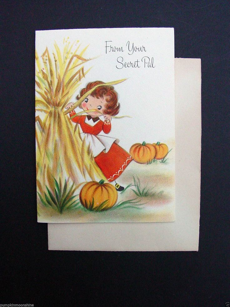 Vintage Thanksgiving Greeting Card ~ Sweet Girl in Corn Field