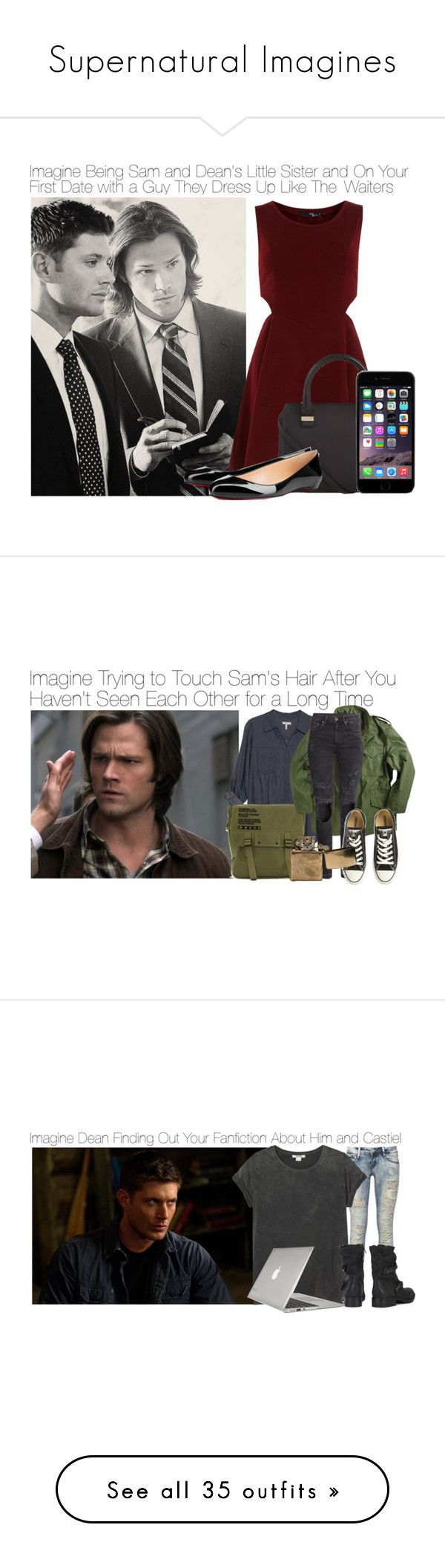 """""""Supernatural Imagines"""" by fandomimagineshere ❤ liked on Polyvore featuring Dorothy Perkins, Victoria Beckham, Christian Louboutin, Joie, H&M, Converse, Monki, Sam Edelman, Speck and Michael Kors"""