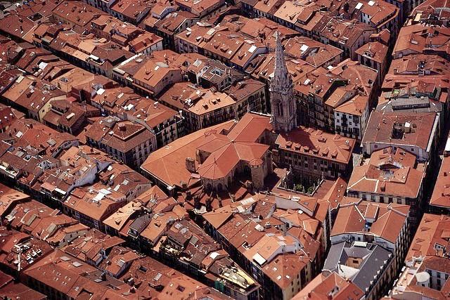 Bilbao, old town from the air. In the center the Cathedral of Santiago, XIV century.