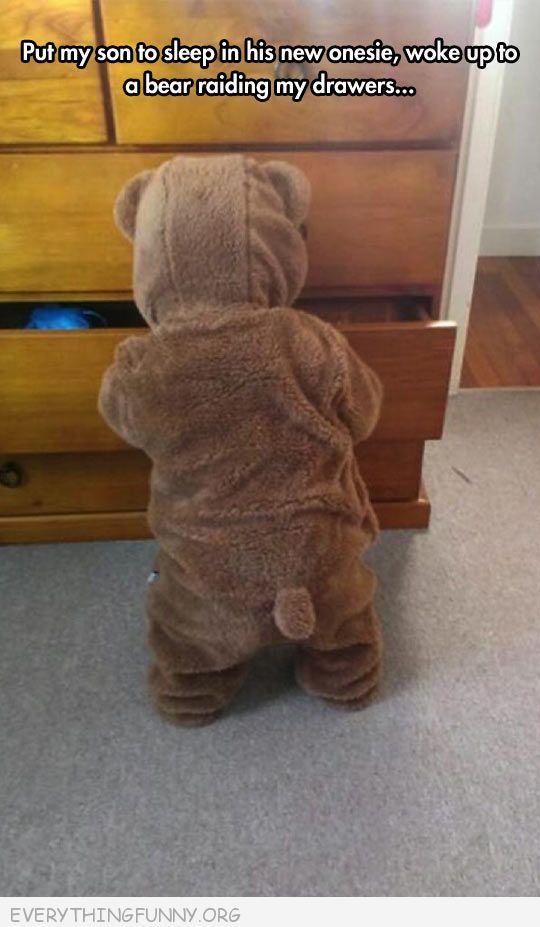 funny babby dressed bear pahamas rummaging through drawers