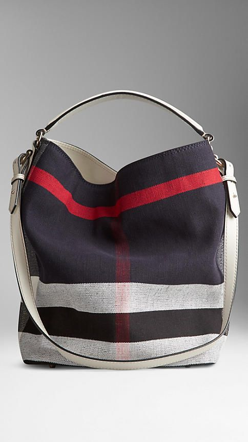 Mittelgroße Hobo-Tasche mit Canvas Check-Muster | Burberry