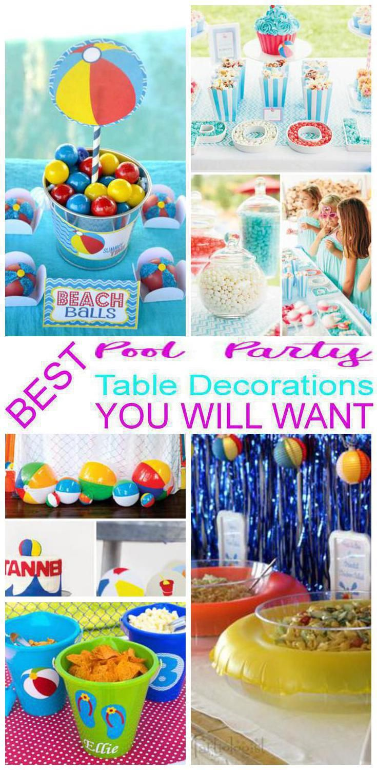 Pool Party Table Decorations Pool Party Themes Pool Party Snacks Party Snack Table