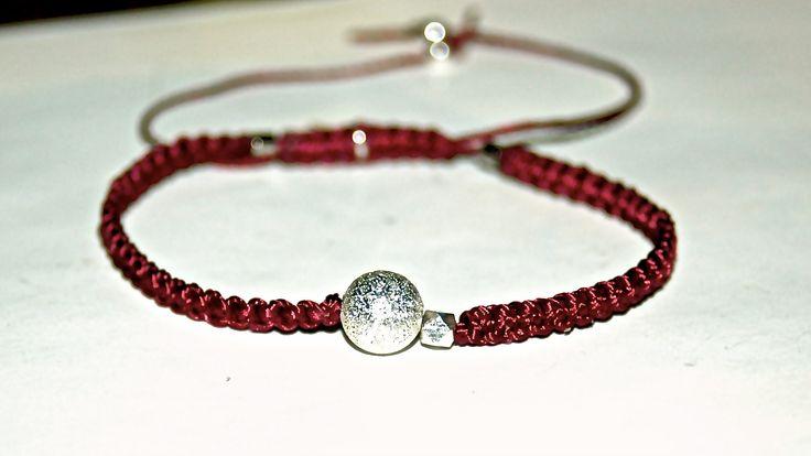 BRACELET MACRAME PERLE ARGENT MARTELE ET FACETTE ARGENT : Bracelet par evencil