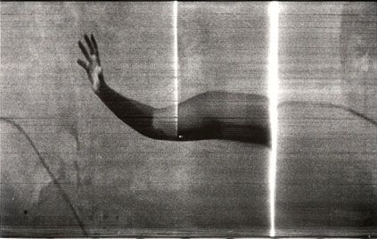 """Paolo Gioli, """"Primo gesto con ardore"""", 1975, fotofinish, stampa bianco e nero, misure variabili"""