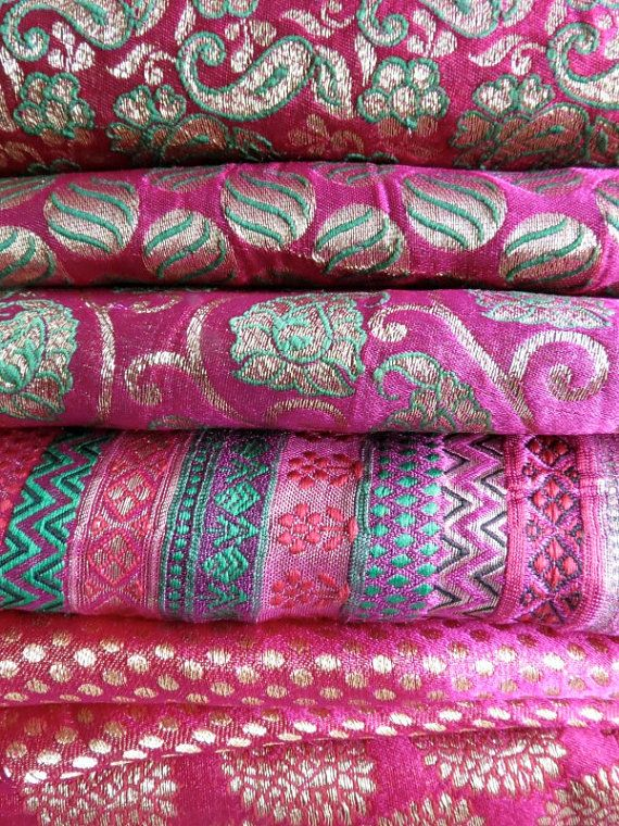 Brocade Magenta beauties  Set of 6 fat quarter bundle by Fabricana