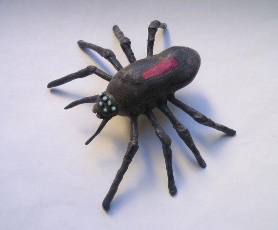Black Spider sculpture  Handmade Spider Design Collectible