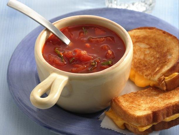 Tomato-Basil Soup: Tomatoes Basil Soups, American Grilled, Tomatoes Soups, Warm Tomatobasil, Tomatobasil Soups, Tomato Basil Soup, Grilled Cheeses, Warm Tomatoes Basil, Soups Recipe