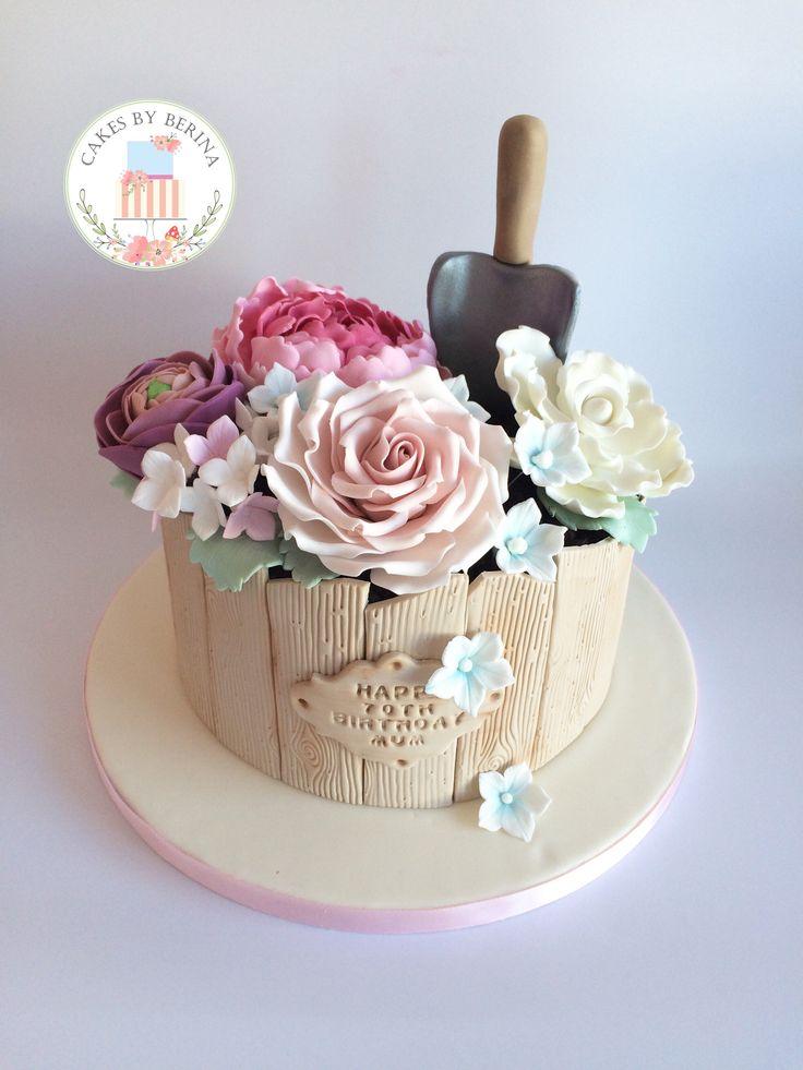 Gardening 70th Birthday Cake With Sugar Flowers Sugar
