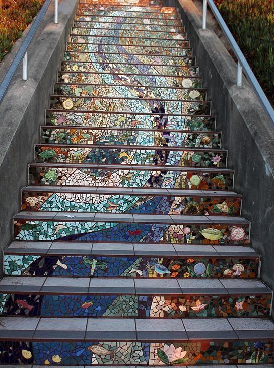 San Francisco Mural Arts   Aileen Barr, Colette Crutcher   Moraga Steps Mosaic