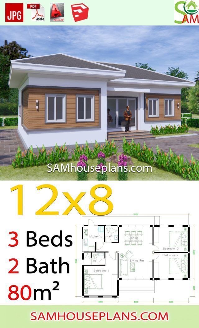 House Plans 12x8 With 3 Bedrooms Hip Roof Sam House Plans Farmhouse Style House Plans Building Plans House House Plan Gallery
