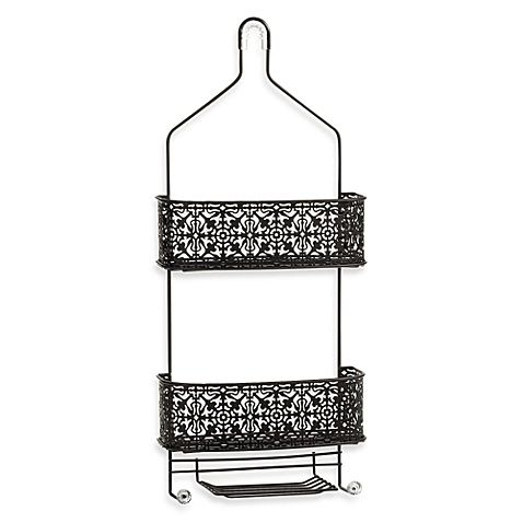 Store it all in beautiful style with this Lace Shower Caddy from Taymor. The two large shelves can hold jumbo sized bottles of shampoo or conditioner, and the small shelf holds a large bar soap.