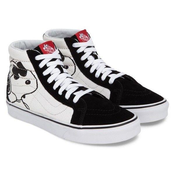 Men's Vans X Peanuts Sk8-Hi Sneaker (218.830 COP) ❤ liked on Polyvore featuring men's fashion, men's shoes, men's sneakers, peanuts joe cool black, mens high tops, mens black high tops, vintage mens sneakers, mens black high top shoes and mens canvas shoes