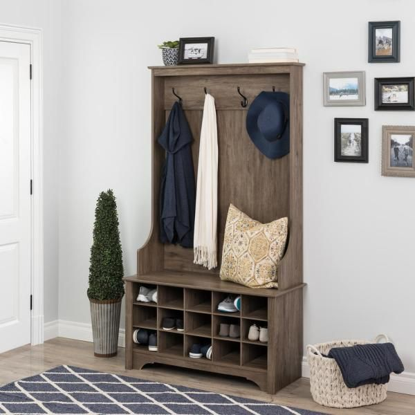 Prepac Drifted Gray Hall Tree With Shoe Storage Dsog 0011 1 In 2020 Hall Tree Storage Hall Grey Hall