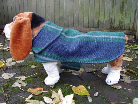 Navy and Green and Grey Wool  Coat Size Medium 16 by KozyCanines
