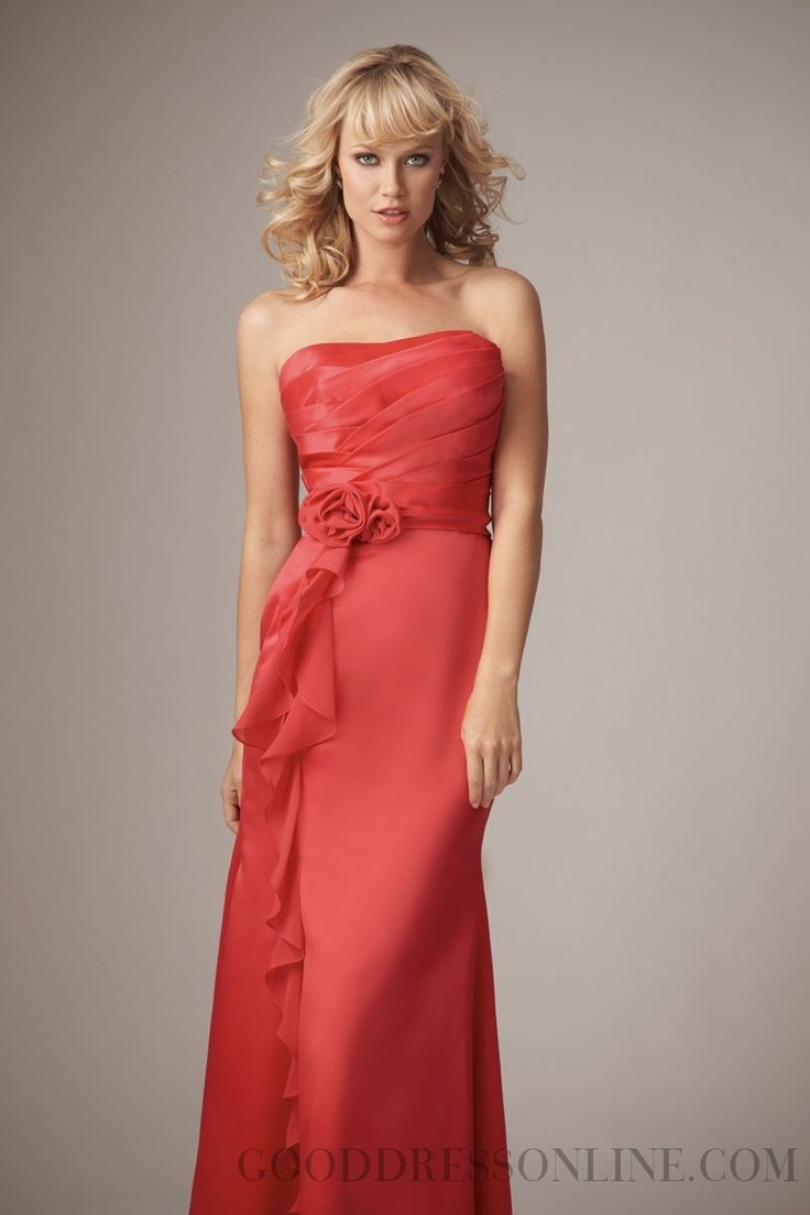 Sheath / Column Strapless Floor-length Chiffon Bridesmaid Dresses with Sashes / Ribbons