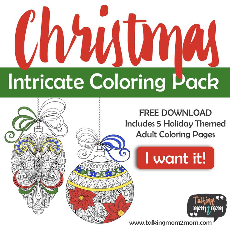 FREE Intricate Christmas Adult Coloring Pages Christmas