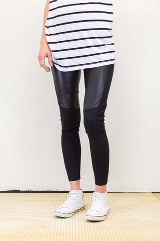 Slicker Pant | #boodlesboutique #fashion #Ponti and# Leather Pant, panelled to flatter, stretch to fit.