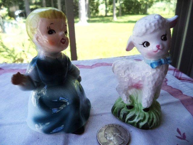 Vintage Ceramic MARY Had a Little LAMB Nursery Rhyme Set Salt & Pepper Shakers
