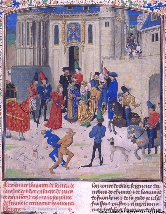 Прибытие Изабеллы Баварской в Париж. Средневековая миниатюра, «Хроники Фруассара»